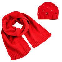 Set z vlny šála a čepice - červený