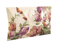 Dárková krabička béžová s fialovými květinami