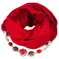 Kašmírová šála s bižuterií - červená