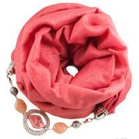 Warm jewelry scarf - coral