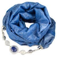 Kašmírová šála s bižuterií - modrá