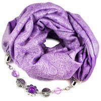 Kašmírová šála s bižuterií - fialová