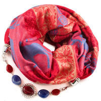 Warm scarf with necklace - red and blue