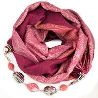 Kašmírová šála s bižuterií - růžová