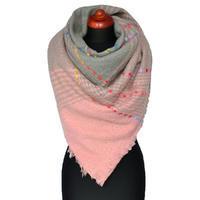 Maxi šála - šedo-růžová