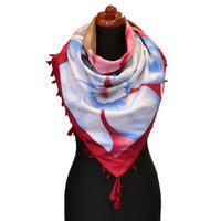 Maxi šátek - červenobílý se vzorem