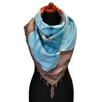 Maxi šátek - hnědomodrý se vzorem
