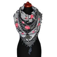 Maxi šátek - šedorůžový se vzorem
