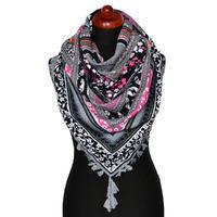 Maxi šátek - šedý se vzorem
