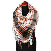 Maxi trojcípý šátek - růžovobílý