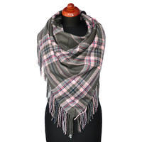 Maxi trojcípý šátek - šedorůžový