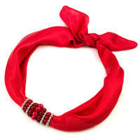 Šátek s bižuterií Letuška 299let001-20 - červený