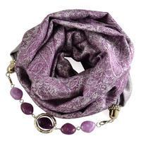 Kašmírová šála s bižuterií 490kk001-35 - fialová