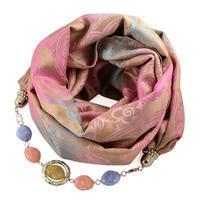 Warm bijoux scarf - beige and pink