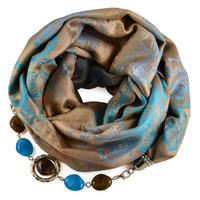 Warm bijoux scarf - brown and turquoise