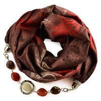 Warm bijoux scarf - brown and orange