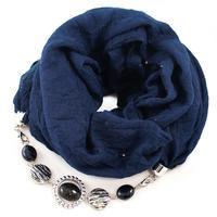 Šála s bižuterií bavlněná Bijoux Me - modrá