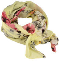 Classic women's cotton scarf - yellow with flowers