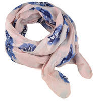 Classic women's cotton scarf - pink with flowers