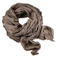 Classic women's cotton scarf - grey with flowers
