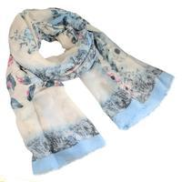 Classic women's scarf - white and blue