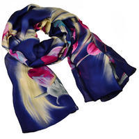 Classic women's scarf - blue and brown