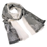 Classic women's scarf - grey and white