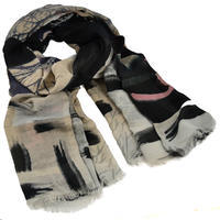 Classic women's scarf - grey and black
