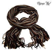 Šála panská pletená 69cp003-40.01 - hnědobílá pruhovaná