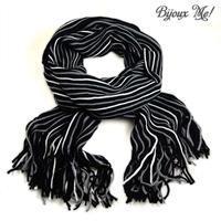 Šála panská pletená 69cp003-70.71 - černošedá pruhovaná