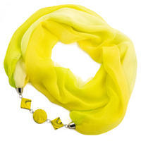 Šála s bižuterií Extravagant - žluté ombre