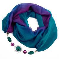 Šála s bižuterií Extravagant - modrofialové ombre