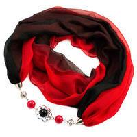 Šála s bižuterií Extravagant - červenočerné ombre