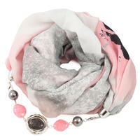 Cotton jewelry scarf - white and pink