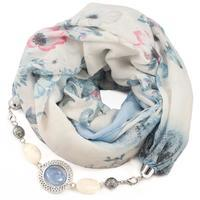 Cotton scarf - white and blue