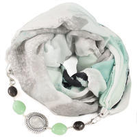 Cotton jewelry scarf - white and green