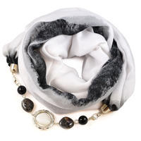 Cotton jewelry scarf - white