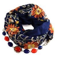 Šála s bižuterií bavlněná 450bb004-30.02 - modrá s vyšitými květy