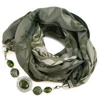 Cotton jewelry scarf - green