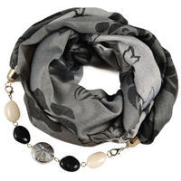 Cotton jewelry scarf - grey and black