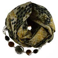 Šála s bižuterií bavlněná 450bb007-52.70 - zelená hadí kůže