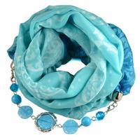 Šála s bižuterií bavlněná 450bb009-31.32 - modrá s potiskem