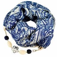 Cotton jewelry scarf - white and blue