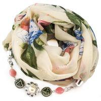 Šála s bižuterií bavlněná Bijoux Me - béžová s květy