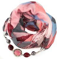 Cotton jewelry scarf - pink and grey