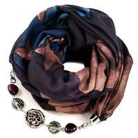 Cotton jewelry scarf - violet and blue