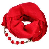 Šála s bižuterií bavlněná Bijoux Me - červená