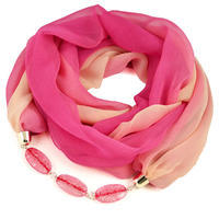 Jewelry scarf Extravagant - pink and beige