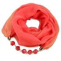 Jewelry scarf Extravagant - coral