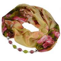 Šála s bižuterií Extravagant 396ext004-14.50 - béžovozelená s květy